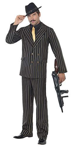 Smiffys Herren Gangster Boss Kostüm, Jackett, Hose, Mock Hemd und Krawatte, Größe: M. 22415