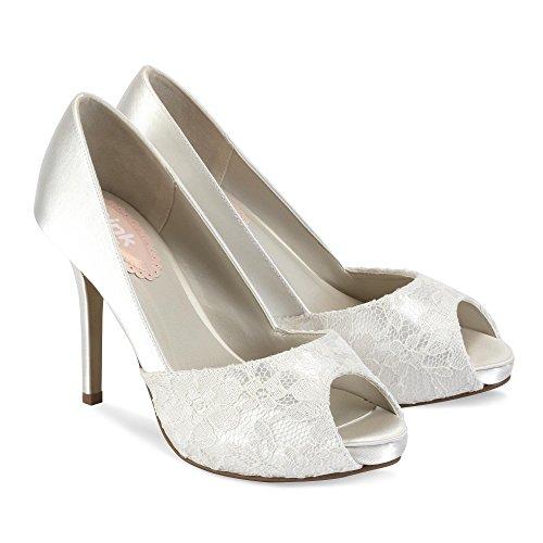peep avorio matrimonio pizzo Ivory toe e London Paradox scarpe Raso Fancy piattaforme Pink 6188at
