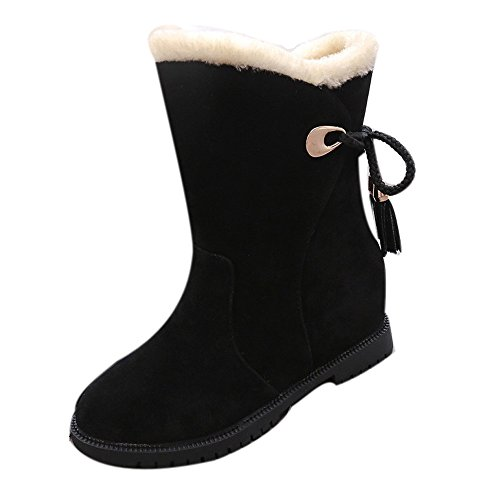 VECDY Damen Schuhe,Räumungsverkauf- Herbst Schneestiefel Winter Stiefeletten Damen Schuhe Heels Winterstiefel Mode Schuhe Strap Stiefel Elegante Booties Sneakers(schwarz,40) Single Strap Mary Jane