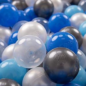 KiddyMoon 700 - Pelotas de plástico para niños, 7 cm de diámetro,, Color Azul Perla, Azul Claro, Plateado