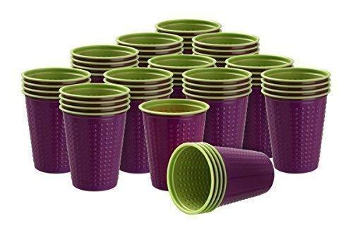 40 Pièce Gobelet Gobelets en plastique 200 ml divers Gobelet à deux couleurs Bicolore différentes couleurs W5 - violet-vert, 200 ml