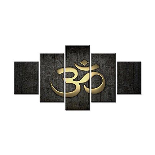 VIIVEI 5pcs Ramadan Islam Allah-korans Bild auf Leinwand, moderne Heimdekoration Wandbild, Kunst, Dekoration für Wohnzimmer, gerahmt fertig zum Aufhängen Buchstabe E, 60cm x B 32cm x H