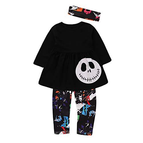 puseky Halloween-Kostüm für Kleinkinder, mit Totenkopf-Kürbis-Hemd, Oberteil, Hose, Stirnband - - 4 Jahre-5 Jahre (5 Halloween-kostüm Jahre Alte)