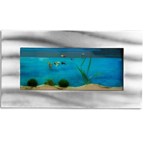 Wandaquarium 590x325x110mm, Komplett XXL Zubehör Set Nano Aquarium Pumpe IPX8 Norm Leuchte uvm