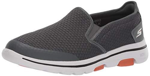SKEAJ #Skechers Herren Go Walk 5-Apprize Slip On Sneaker, Textile/Synthetic/White Trim Charcoal, 43 EU Trim Slip-ons