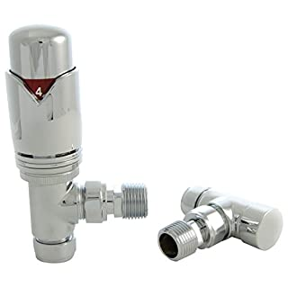 SMR Bathrooms REALM-2-AG-C Realm Modern Chrome Thermostatic Radiator Valve (Angled TRV)