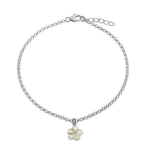 Bling Jewelry Synthetic White Opal Inlay Plumeria Flower Bracelet Gourmette