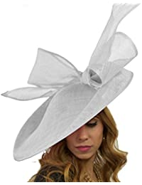 bbe4381900813 Hats By Cressida Large Metallic Silver Fascinator Hat for Ascot Derby With  Headband