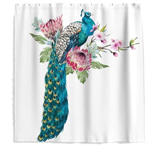 Pfau Vogel Blumen Duschvorhang Antischimmel Polyester Stoff Badezimmer Vorhang mit Haken Weiß 120x200cm