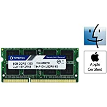 Timetec Hynix IC Apple 8GB DDR3 1333MHz PC3-10600 SODIMM Memory Upgrade For MacBook Pro 13/15/17 inch Early/Late 2011,iMac 21.5-inch Mid/Late 2010/2011,27-inch Mid 2010/2011,Mac mini 5,1 & 5,2 Mid 2011 (8GB)