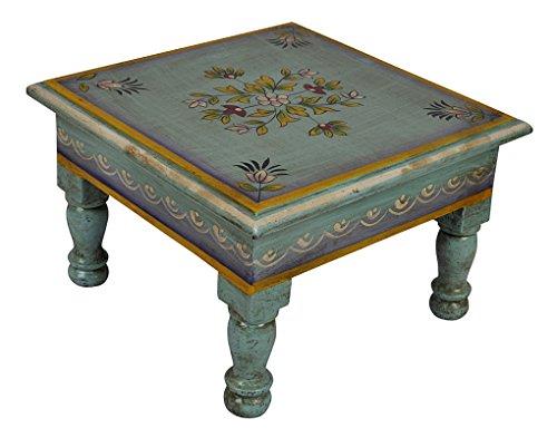 Tavolino In Legno Etnico.Tavolino In Legno Etnico Realizzato A Mano Pooja Chowki Bajot