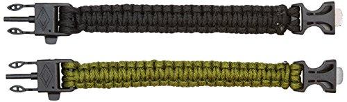 Doutop Paracord Armband Survival Kit Überlebensarmband 2er Set mit Feuerstein Pfeife Überlebens Armband Handgelenk Bracelet Getriebe Set Armee Grün Schwarz