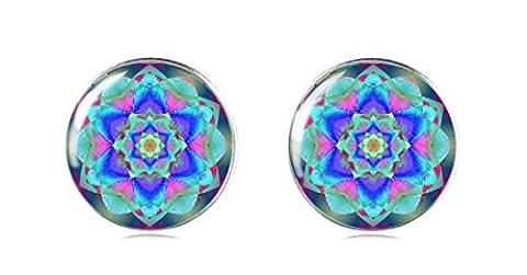 Tizi Jewellery Handgemachte Blaue 925 Sterling Silber Ohrringe Ohrstecker 12 mm für Damen und Mädchen Geschenk perfekte oder (Sterling Silber Diamant-medaillon)