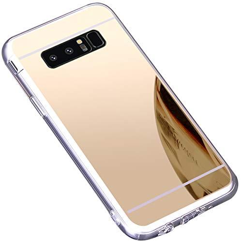 kompatibel mit Galaxy Note 8 Hülle,Schutzhülle für Galaxy Note 8 Silikon Handyhülle Spiegel Hülle Bling Strass TPU Silikon Telefon-Kasten Mirror Case Cover für Galaxy Note 8,Gold - Bling Aus Telefon-kästen