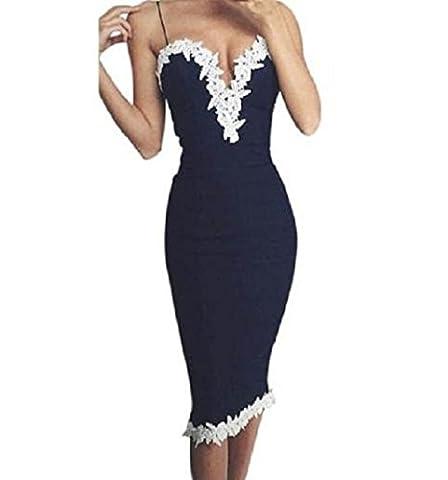 WOCACHI Frauen der Körper con V-Ausschnitt Blumenspitze Abend Partei Damen langes Kleid (S, Blau)