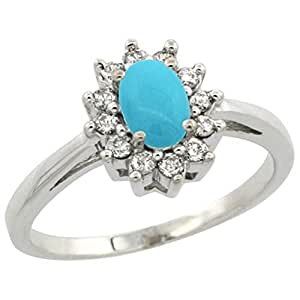 Revoni Sterling Silver Sleeping Beauty Turquoise & Diamond Ring, Oval (6X4 mm)