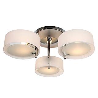 HOMCOM Deckenlampe Deckenleuchte Kronleuchter 40W Leuchte 3-flammig Chrom Acryl E27, Warmweiß, Ø64xH20cm