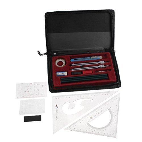 DealMux School Student Mechanische Plotter Werkzeug Zeichengeräte Set 16 PC w-Tasche