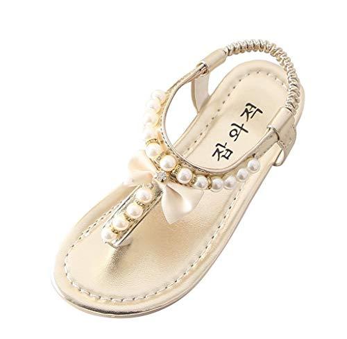 Jimmackey Sandali Estivi Bambina Neonata Bassi Scarpe Bowknot Perla Principessa Thong Sandali Scarpe Ciabatte Scarpine Scarpe con Tacco Ragazza
