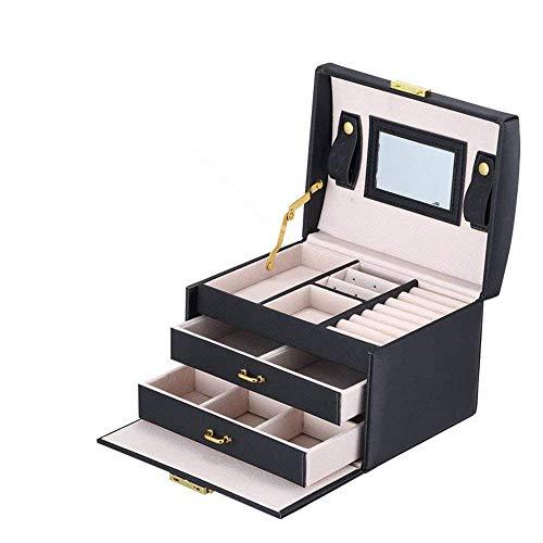 ZOUQILAI Boîte de Rangement de Bijoux en Cuir PU européen boîte de Rangement à Double tiroir boîte à Bijoux avec Serrure et Miroir intégré Noir