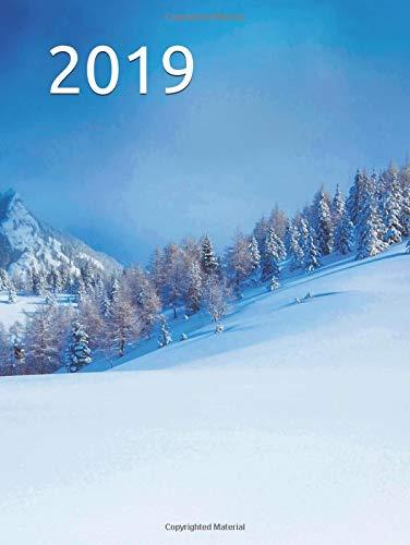 2019: 2019 calendar planner organizer skiing mountains winter wonderland design blue skies