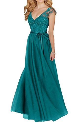 Gorgeous Bride Klassisch Traeger V-Ausschnitt A-Linie Lang Satin Tuell Spitze Abendkleider Cocktailkleider Brautmutterkleider Blau-Grün