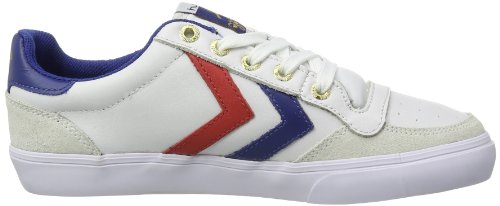 hummel  HUMMEL STADIL LOW, Low-top adulte mixte Blanc (White/blue/red/gum)