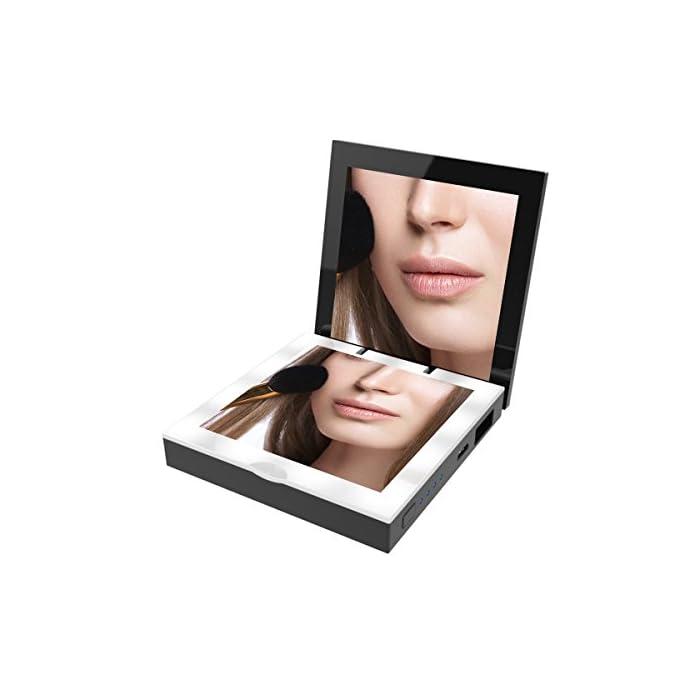 Powerbank Make Up Spiegel Tasche Ladegerät - Mini Akku 3000mAh, LED Beleuchtung Faltbarer Taschenspiegel für Kosmetik…