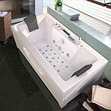 Baignoire balneo ouest-balnéo baignoire rectangulaire 180cm x 90cm x 62cm (1 LEDs 7 couleurs, 26 jets massant, blanche, toutes options) spa jacuzzi grande baignoire à bulle certification TUV allemande....