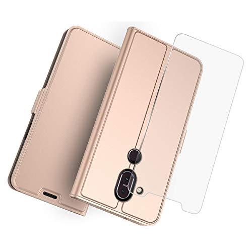 Futypei Nokia 8.1 Nokia 7.1 Plus Hülle Leder Extra Dünn PU Ledertasche Handyhülle mit Kartenfach [Stand Funktion] Leder Case Stoßfest Schutzhülle Brieftasche Flip Hülle Rose Gold