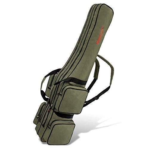 Allround Rutentasche Angeln Tasche mit 2 Innenfächern für Angelruten, Kescher und Rutenhalter - 125cm - Oliv