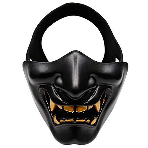 Kostüm Pro Zombie - Halloween Kostüm Cosplay-CS Spiel Camouflage Maske-BB Evil Demon Monk Kabuki Samurai Hanya Oni Halb Deckmaske, Zwei Größen: Kopfumfang (M: 57-59Cm, L: 60-62Cm),Gold,L
