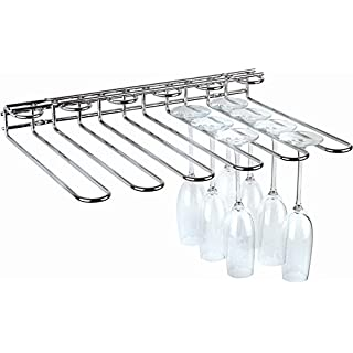 APS Gläserschiene ca. 45 x 32 cm, Höhe 6 cm Metall, verchromt, 6 mm stark bietet Platz für 20 Gläser Wand- und Deckenmontage mögl.
