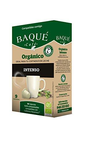 Cafés Baqué Cápsulas Compatibles con Nespresso Orgánico Intenso - 6 Paquetes de 10 Unidades