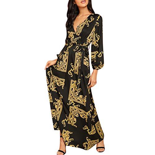 Wawer, Damenkleid, Vintage-Druck, V-Ausschnitt, Langarm, Drapiertes Kleid, lang, elegant, Abendkleid, Cocktailkleid, Wrap, Frühling, Herbst, chic, Urlaub am Strand, sexy L gold -