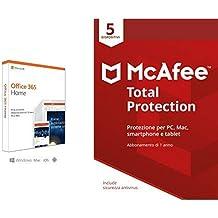 Microsoft Office 365 Home + McAfee Total Protection con 5 Dispositivi