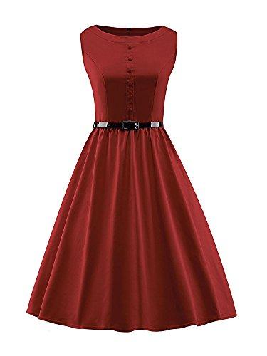 Wealsex 50s Retro Vintage Rockabilly kleid Damen Sommer Swing Kleider  Rotwein