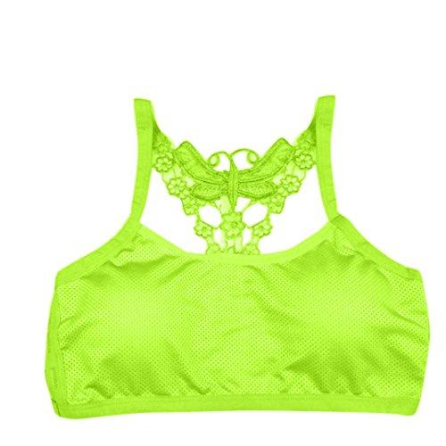 BZLine - Dentelle Papillon Soutien-gorge de Yoga élastique - en Coton mélangé - Femme Vert