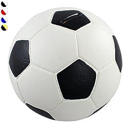 HMF 4790-01 alcancía pelota de fútbol imitación de piel, Caja de caudales 15 cm diámetro , blanco y negro