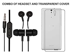 Value Combo Of Black Headset And Soft Transparent Clear Back Case Cover For Sony Xperia C5 Ultra