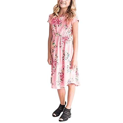 HUIHUI Blumendruck Ärmellos Prinzessin Riemen Kleid mit Bowknot Mädchen Billig Sommer Party Petticoat Kleid Strandkleidung Crazy sales, 5-9Jahr (L (7-8Jahr), Rosa) (Crazy Sales)