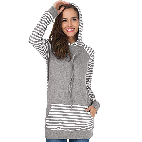 Pullover Teenager mädchen Liusdh Stripe Long Sleeve and Pocket Soft Cotton Long Hooded Sweatshirt Blouse for Girls(Gray,L) - Sleeve Grey Stripe Shirt