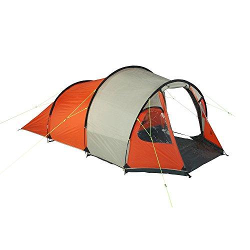 10T Mandiga 3 Orange - Tunnelzelt für 3 Personen, Campingzelt mit großer Schlafkabine, wasserdichtes Familienzelt mit 5000mm, Zelt mit 2 Eingängen und 2 Fenstern, Festivalzelt mit Dauerbelüftung, 3 Mann Zelt mit Tragetasche, Zeltheringe und Zeltgestänge - 15