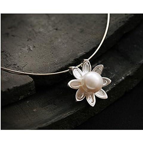 Suya Argento/femmina/ciondolo/collana//925argento perla d' acqua dolce gioielli/A (Handcrafted Perle)