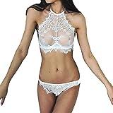MERICAL Frauen Sexy Dessous Spitze Blumen Push Up Top BH Hosen Unterwäsche Set(XL,Weiß)