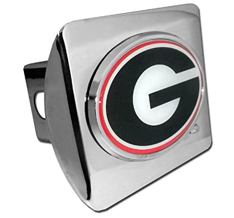 Georgia Bulldogs Polished Chrome Color Emblem Metal NCAA Trailer Hitch Cover Fits 2 Inch Auto Car Truck Receiver by Elektroplate