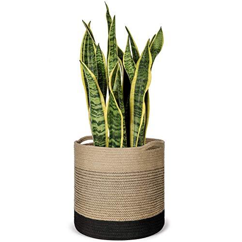 Mkouo Jute Rope Plant Basket for 28cm Flower Pot Floor Indoor Planters, 31cm x 31cm Storage Basket Organizer Modern Home Decor