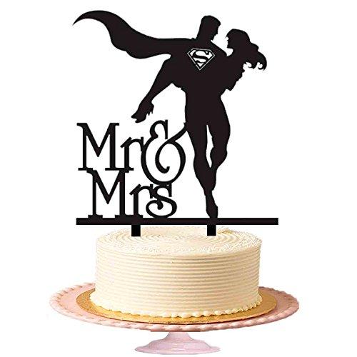 halten und Fliegen mit Pretty Gilr Hochzeit Tortenaufsatz, Acryl Kuchen Topper in Schwarz (Happy Birthday Iron Man)