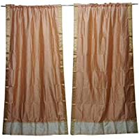 Mogul Interior 2 Indian Silk Sari Curtains Drape Peach Window Treatment Home Decor 84x44