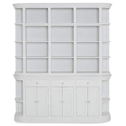 Homy Bücherwand Weiß Holz Massiv Mango 6 Türen 3 Schübe 24 Fächer Bücherschrank - Giroux